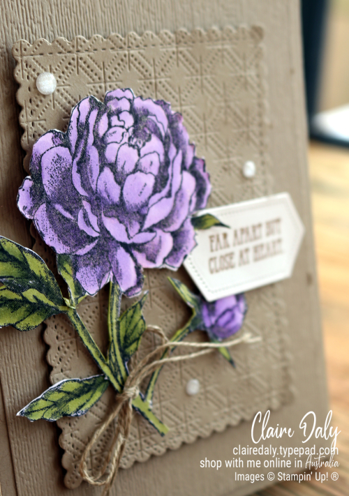 Stampin Up Prized Peony stamp set coloured with Stampin' Blends. Dainty Diamonds and Subtle 3D embossing folder. 2020 card by Claire Daly, Stampin' Up! Demonstrator Melbourne Australia