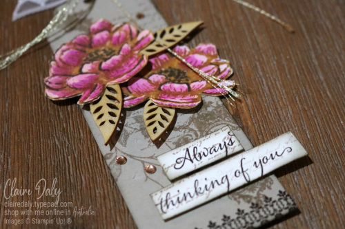 Vintage tag using Very Versailles and Tasteful Textures Stampin Up stamp sets. Tag by Claire Daly, Stampin' Up! Demonstrator Melbourne Australia