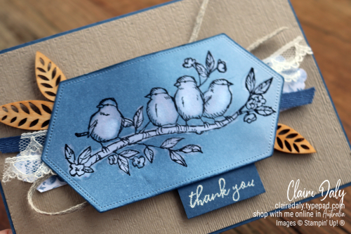 Stampin Up Free as a Bird stamp set with waterlifting technique. 2020 card by Claire Daly Stampin' Up! Demonstrator Melbourne Australia