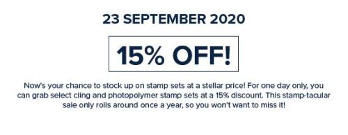 Stampin Up Stamp Sale September 23rd 2020