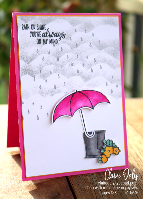 Stampin Up Under My Umbrella Stamp Set friends card idea. 2020 card by Claire Daly, Stampin Up Demonstrator Melbourne Australia.