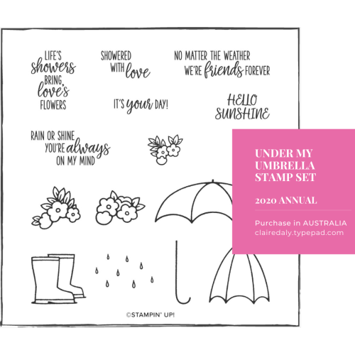 Stampin Up Under My Umbrella Stamp Set. Available to purchase in Australia from Claire Daly, Stampin Up Demonstrator. Click through for contact details or online store link.