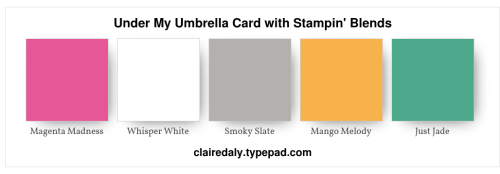 Stampin Up color / colour combination for Under My Umbrella Card with Stampin' Blends