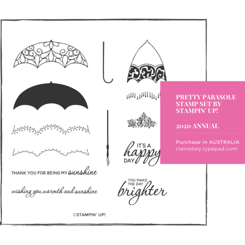 Stampin Up Pretty Parasole Stamp Set. Available to purchase in Australia from Claire Daly, Stampin Up Demonstrator. Click through for contact details or online store link.