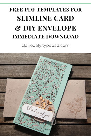 Stampin Up Slimline Card and DIY Envelope using Gilded Autumn DSP. Free Template download for card and envelope. 2020 card by Claire Daly, Stampin Up Demonstrator Melbourne Australia