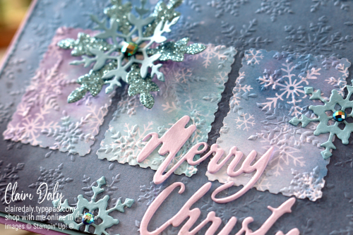 Stampin Up Snowflake Splendor 2020 Christmas Card using Inlaid Embossing Technique. Card by Claire Daly, Stampin' Up! Demonstrator Melbourne Australia.