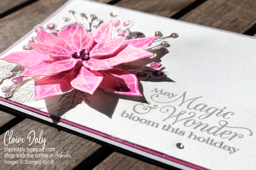Stampin Up Poinsettia Petals 2020 Christmas card in Magenta Madness. Claire Daly, Stampin' Up! Demonstrator Melbourne Australia