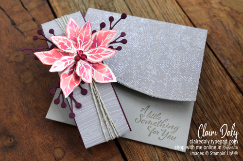 DIY gift card holder step by step instructions with pictures. Uses Stampin Up Poinsettia Petals and Quite Curvy Bundles. Made by Claire Daly Stampin Up Demonstrator Melbourne Australia