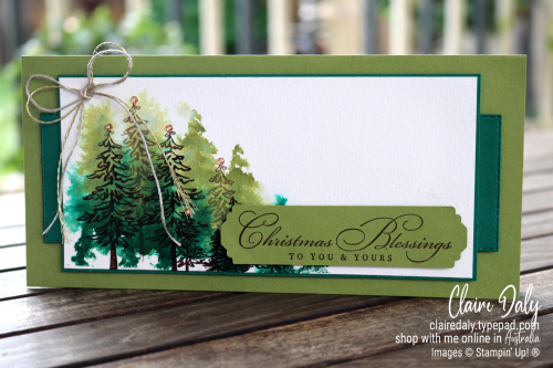 Stampin Up Slimline Christmas Card using In The Pines and Wrapped In Christmas stamp sets. 2020 card by Claire Daly, Stampin' Up! Demonstrator Melbourne Australia.