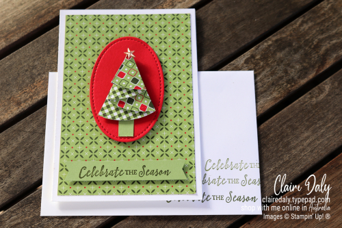 Handmade folded Christmas Tree Cards. Free Tutorial. Claire Daly, Stampin Up Demonstrator Melbourne Australia.