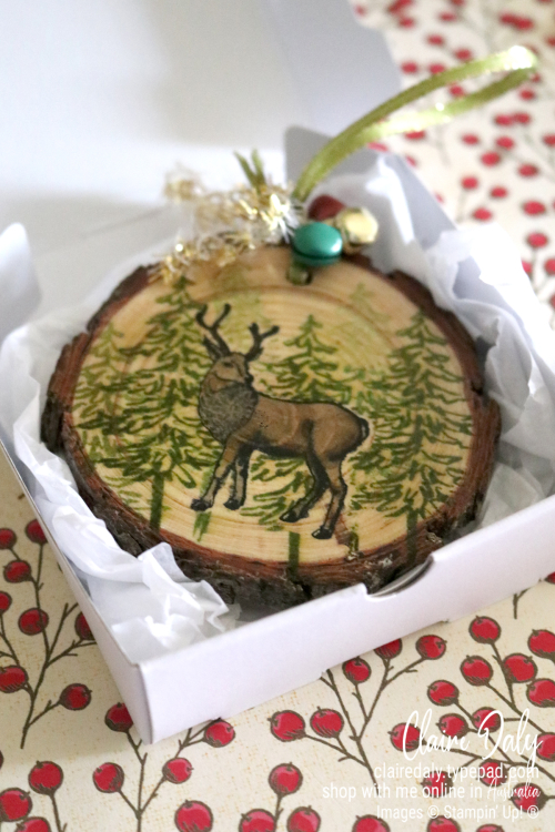 Gift box perfectly sized for DIY wood slice ornament. Available from Claire Daly, Stampin' Up! Demonstrator Melbourne Australia.