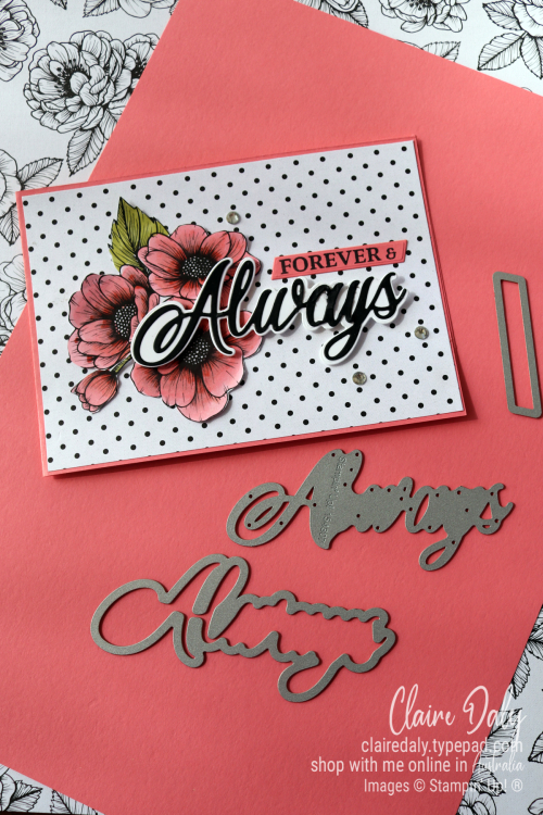 Stampin Up Forever and Always bundle and True Love Designer Series Paper. 2021 card idea by Claire Daly, Stampin' Up! Demonstrator Melbourne Australia