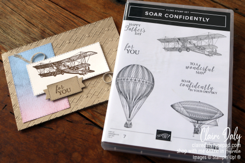 Stampin' Up! Soar Confidently Stamp Set and Absolutely Argyle Embossing Folder. 2021 card by Claire Daly, Stampin' Up! Demonstrator Melbourne Australia