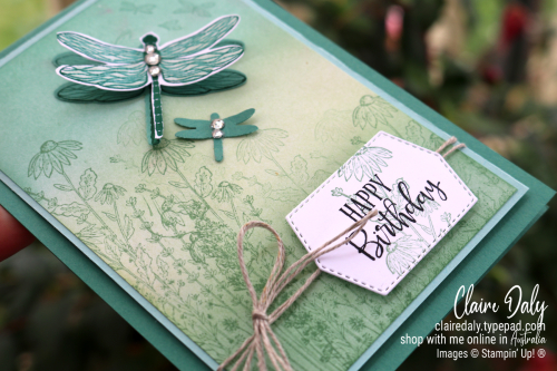 Stampin Up Dragonfly Garden birthday card. 2021 Card by Claire daly, Stampin Up Demonstrator Melbourne Australia.