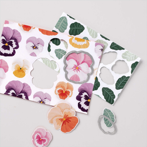 Stampin Up 2021 Pansy Petals DSP and coordinating Pany Dies. Available from Claire Daly, Stampin Up Demonstrator Melbourne Australia