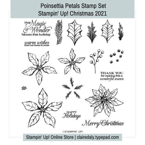 Stampin Up Poinsettia petals stamp set for Christmas 2021. Available in my online store in Australia.
