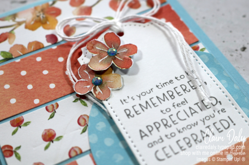 Quick and Easy card design using strips of patterned paper (You're a Peach Designer Series Paper from Stampin Up). 2021 card by Claire Daly Stampin' Up! Demonstrator Melbourne Australia.
