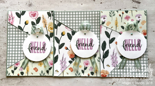 Stampin Up 3 quick and easy cards in one using Pansy Petals DSP. 2021 Card by Claire Daly Stampin Up Demonstrator Melbourne Australia.