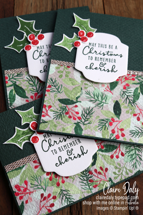 Stampin Up Painted Season suite 2021 Christmas cards by Claire Daly, Stampin' Up! Demonstrator Melbourne Australia.