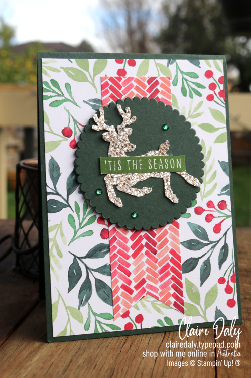 Stampin Up Painted Christmas, Christmas to Remember and Deer Buider Punch. 2021 Christmas card by Claire Daly, Stampin Up Demonstrator Melbourne Australia