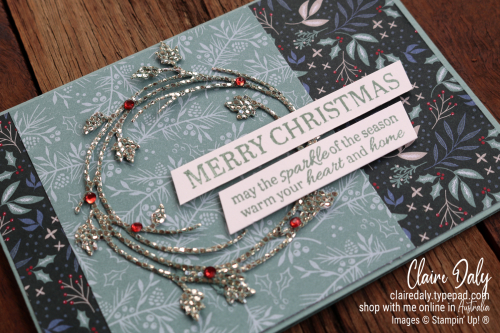 Stampin Up 2021 Christmas card using Be Dazzling Specialty Paperand Sparkle of the Season bundle. Claire Daly, Stampin Up Demonstrator Melbourne Australia.