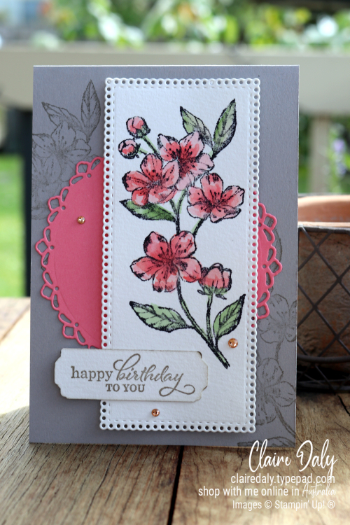 Stampin Up Forever Blossoms and Enchanted in Beauty 2021 birthday card by Claire Daly, Stampin Up Demonstrator, Melbourne, Australia