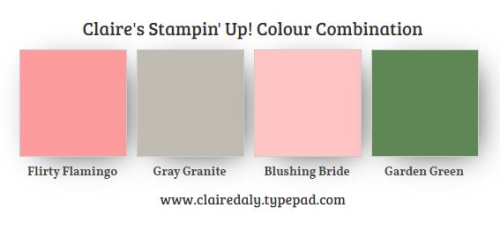 Stampin Up Colour / Color Combination featuring Flirty Flamingo, Gray Granite, Blushing Bride, Garden Green.  Claire Daly, Stampin Up Demonstrator, Melbourne, Australia