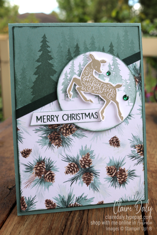 Stampin Up Peaceful Deer 2021 Christmas Card by Claire Daly, Stampin Up Demonstrator, Melbourne Australia