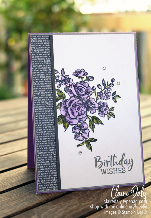Stampin Up Fancy Phrases coloured with Stampin' Blends. 2020 card by Claire Daly, Stampin' Up! demonstrator Melbourne Australia