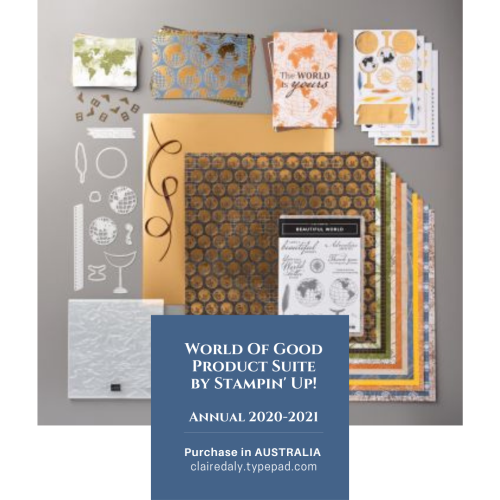 World of Good Product Suite Stampin Up. Perfect for travel and masculine themed projects. Availiable now in my online store in Australia. Claire Daly, Stampin Up Demonstrator Melbourne Australia.Available in my online store in Australia.