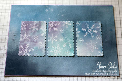 Stampin Up Snowflake Splendor 2020 Christmas Card using Inlaid Embossing Technique. Card by Claire Daly, Stampin' Up! Demonstrator Melbourne Australia