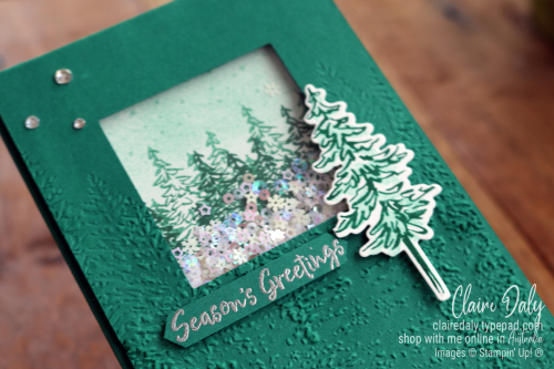 Stampin Up In the Pines Shaker Card using Evergreen Forest Embossing Folder. 2020 Christmas card by Claire Daly Stampin Up Demonstrator Melbourne Australia
