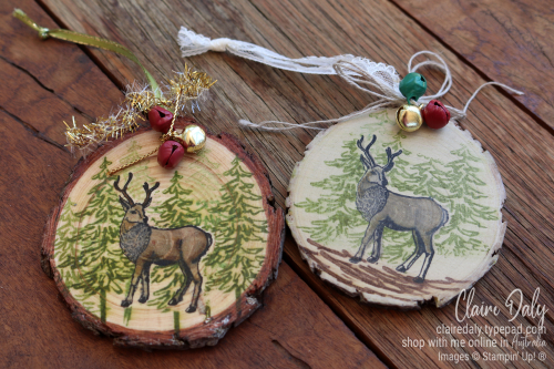 Handmade Wood Slice Ornament using 2020 Stampin Up Supplies. Claire Daly, Stampin Up Demonstrator, Melbourne Australia.