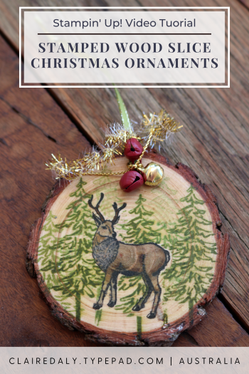 Handmade Wood Slice Ornament using 2020 Stampin Up Supplies. Claire Daly, Stampin Up Demonstrator, Melbourne Australia