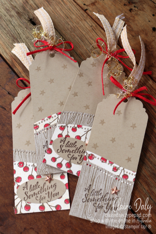 Stampin Up Curvy Christmas 2020 handmade Christmas Tags by Claire Daly, Stampin' Up! Demonstrator Melboure Australia. Also uses Poinsettia Place Designer Paper and Wrapped in Christmas stamp set.