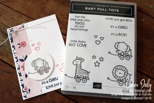 Stampin Up baby Card Idea using New 2021 Baby Pull Toy stamp set. Card by Claire Daly, Stampin' Up! Demonstrator Melbourne, Australia