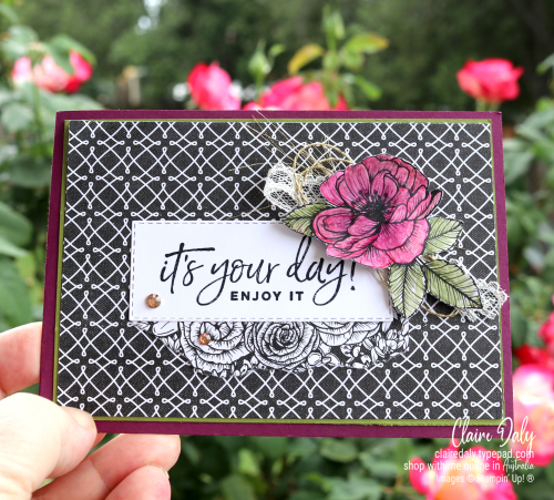 Stampin Up 2021 birthday card with True Love DSP and Happiest of Birthdays stamp set. DSP coloured with watercolour pencils.