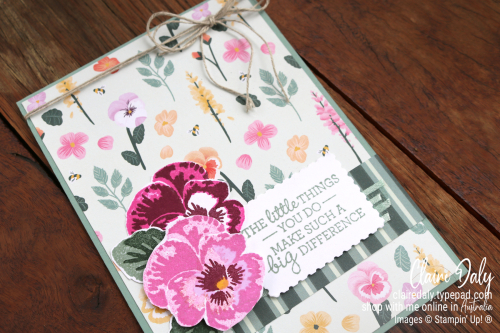 Stampin Up Pansy Patch stamp set / bundle from the 2021 Stampin Up Annual Catalogue.Handmade card by Claire Daly, Stampin Up Demonstrator Melbourne Australia