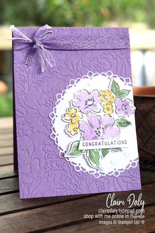 Stampin Up 2021 Hand Penned Petals bundle card using Pretty Flowers embossing folder. Congratulations card by Claire Daly Stampin Up Demonstrator Melbourne Australia