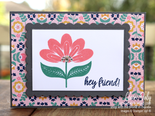 Stampin Up Sweet Symmetry hand made friends card. 2021 card by Claire Daly, Stampin Up Demonstrator Melbourne Australia.