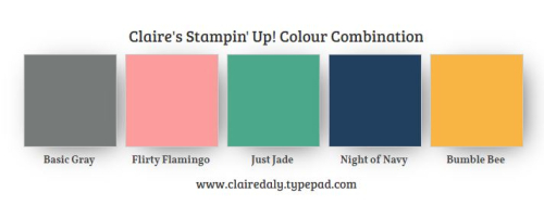 Stampin Up 2021 colour / color combination. Basic Gray, Flirty Flamingo, Just Jade, Bumble Bee and Night of Navy
