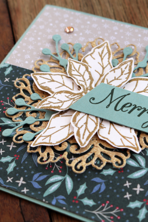 2021 Stampin Up Christmas Card using Poinsettia Petals. Card by Claire Daly, Stampin Up Demonstrator Melbourne Australia.