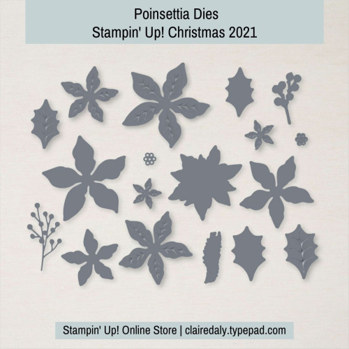Stampin Up Poinsettia dies for Christmas 2021. Available in my online store in Australia