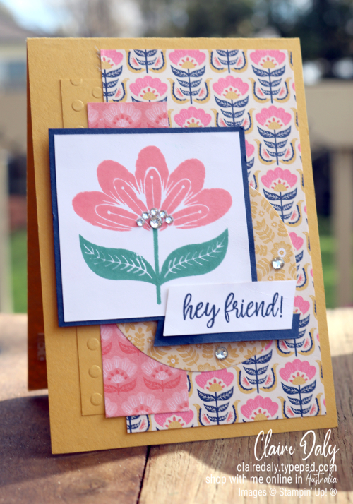 Stampin Up In Symmetry stamp set with Sweet Symmetry DSP. Card by Claire Daly, Stampin' Up! Demonstrator Melbourne Australia.