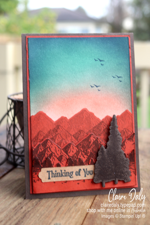 Masculine Thinking of You card using Stampin Up Mountain Air and Ink Blending Technique. Card by Claire Daly Stampin Up Demonstrator Melbourne Australia.