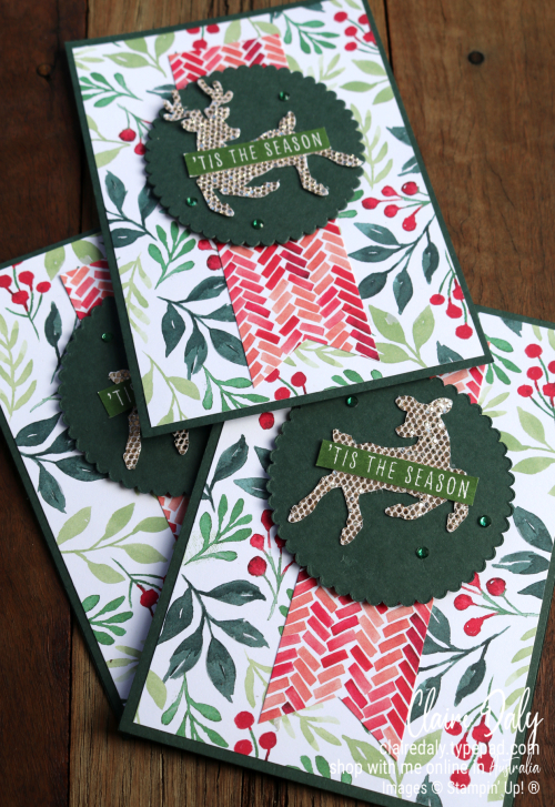 Stampin Up Painted Christmas, Christmas to Remember and Deer Buider Punch. 2021 Christmas card by Claire Daly, Stampin Up Demonstrator Melbourne Australia.