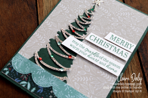 Stampin Up 2021 Christmas card using Be Dazzling Specialty Paper, Christmas Tree Dies and Sparkle of the Season stamp set. Claire Daly, Stampin Up Demonstrator Melbourne Australia.
