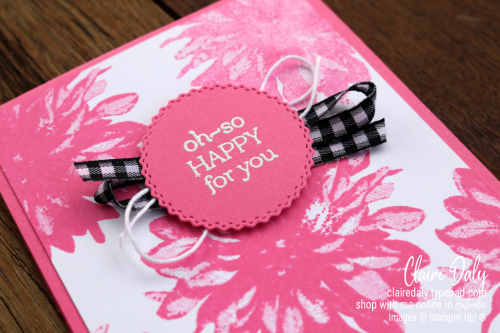 Stampin Up 2021 August Saleabration. Delicate Dahlia's friend card in Polished Pink. Card by Claire Daly, Stampin Up Demonstrator Melbourne Australia