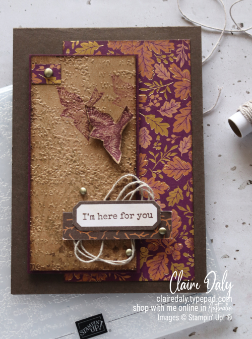 Stampin Up Blackberry Beauty 'Here for You' handmade vintage card by Claire Daly, Stampin' Up! Demonstrator Melbourne Australia.