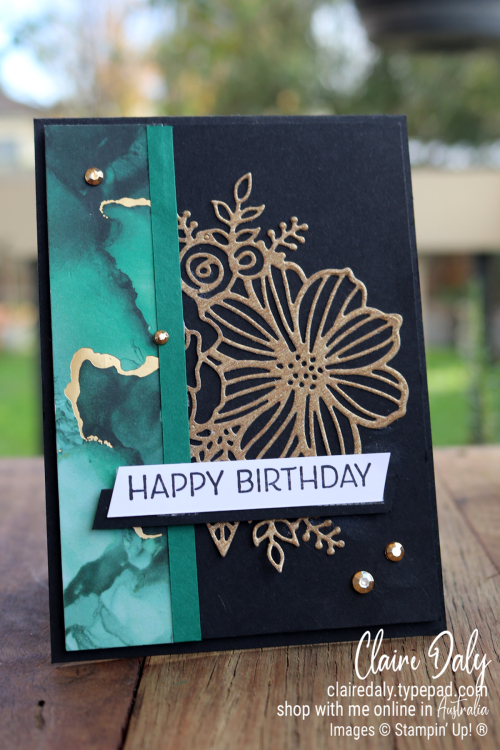 Stampin Up Artistically Inked. 2021 birthday card by Claire Daly, Stampin Up Demonstrator Melbourne Australia.